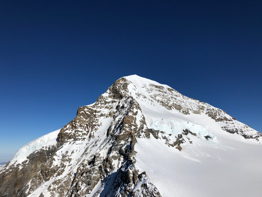 A man standing on top of a snow covered mountain